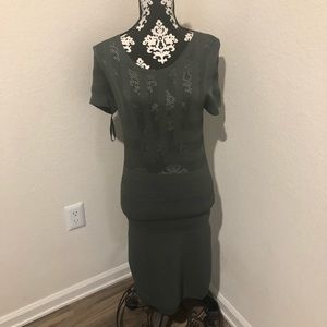 French Connection green stretchy dress